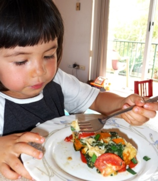 Getting kids to eat vegetables, Jessie with plate vegetables