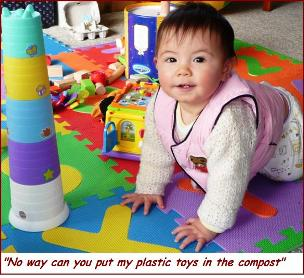 Compost materials-not Jessie's plastic toys