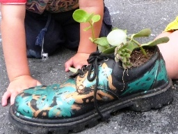 Gardening activities for kids - kids' shoe garden