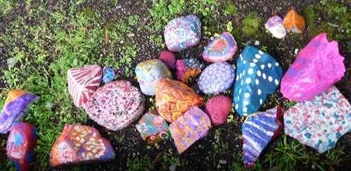 Stones and rocks painted by students