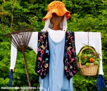Scarecrow to stop birds in garden