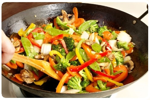 Stir fried vegetables in wok