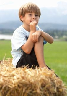 strawbale garden boy sitting on top