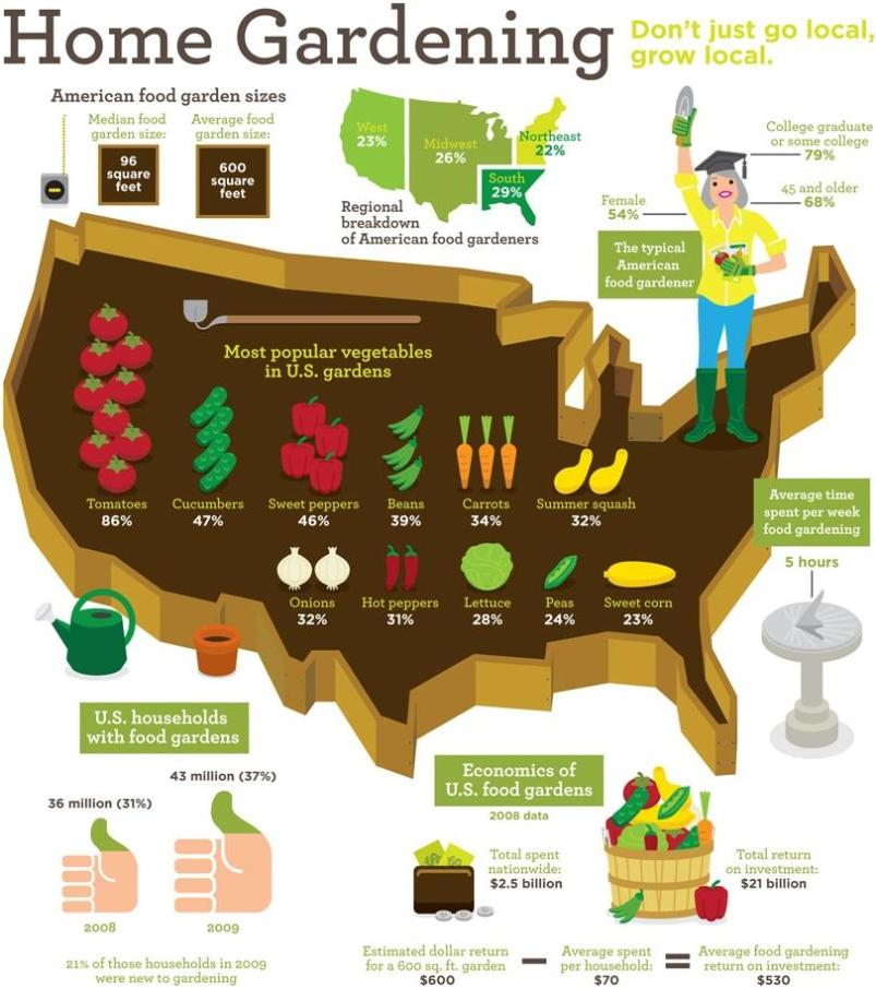 US map home gardening infographics