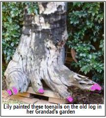Kids garden crafts - log painted with pink toenails