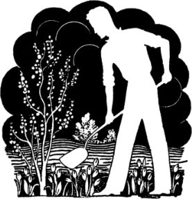 man digging black and white silhouette