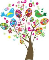 Easter eggs and birds tree
