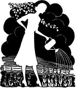 Woman watering plants retro black n white