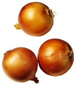3 brown onions for growing onions