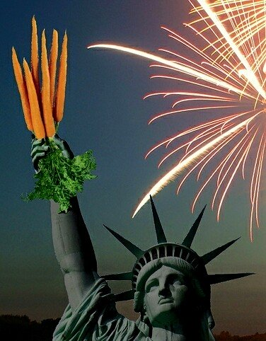 Statue of Liberty holding carrots